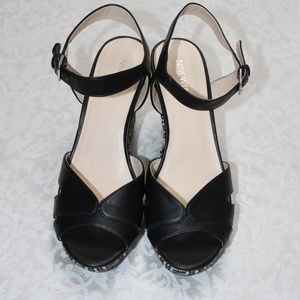 Nine West Black Leather Espadrille Sandal